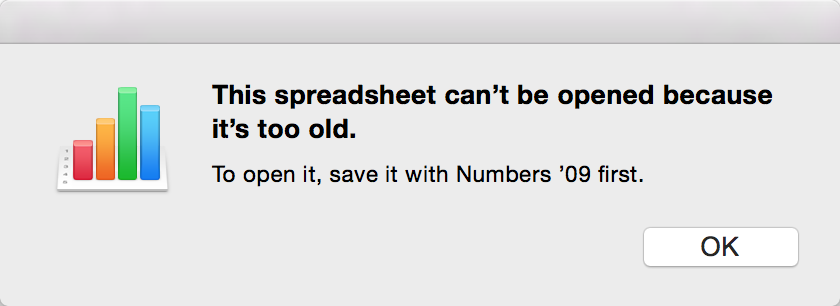 """This spreadsheed can't be opened because it is too old"" Dialog"