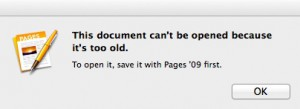 This document can't be opened because it's too old Dialog